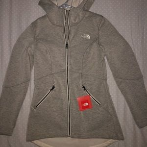 Women's North Face Gray Zipper Hooded Jacket XS-S